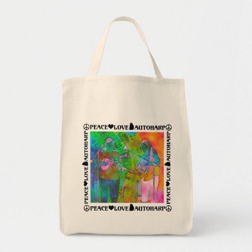 Peace Love Autoharp Grocery Tote Bag