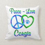 Peace Love Dog Pawprint Throw Pillow Zazzle
