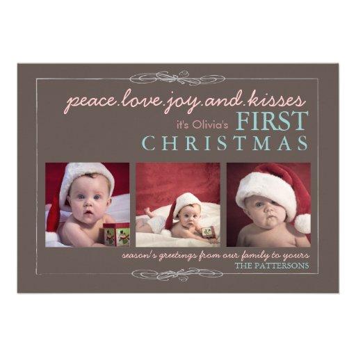 "Peace Love Joy Baby's First Christmas Photo Card 5"" X 7"