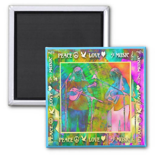 Peace Love Music 2-inch Square Magnet