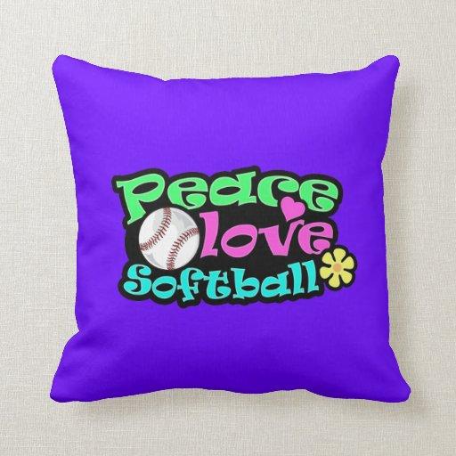 Peace Love Softball Throw Pillow Zazzle