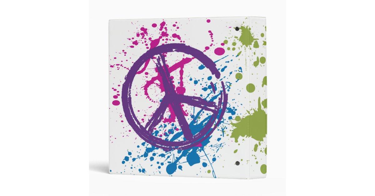 PEACE SIGN PAINT SPLATTER 3 RING BINDER | Zazzle