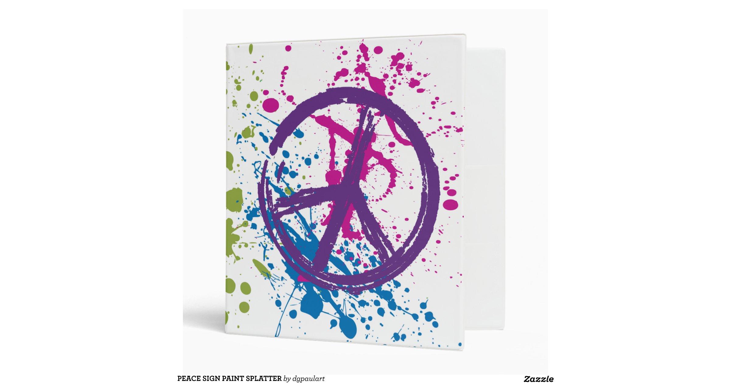 PEACE SIGN PAINT SPLATTER 3 RING BINDERS | Zazzle