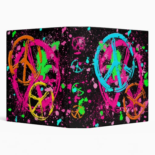 PEACE SIGNS AND PAINT SPLATTER BINDER | Zazzle