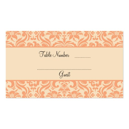 double sided place card template - peach and cream damask wedding table place cards double