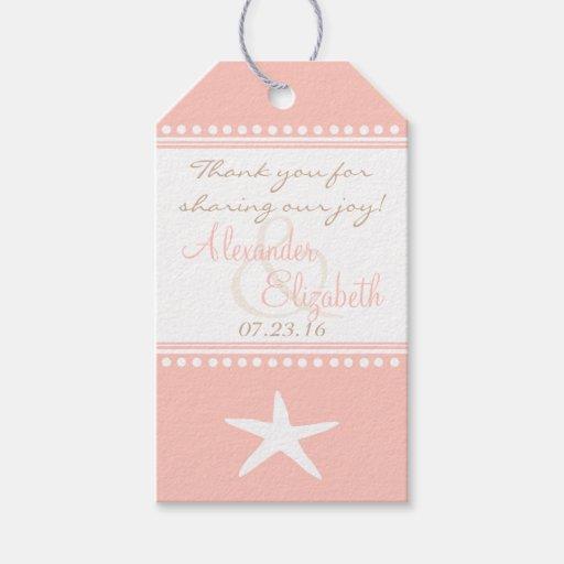 Wedding Thank You Gift Tags: Peach Beach Wedding Guest Favor Thank You- Gift Tags