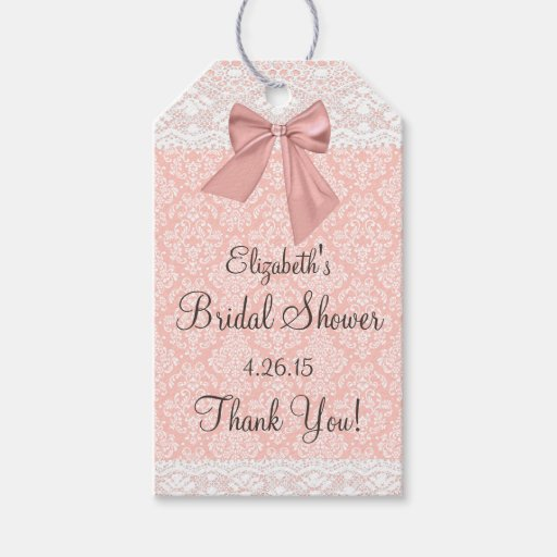 Peach Damask Bridal Shower Guest Favor Thank You Gift Tags