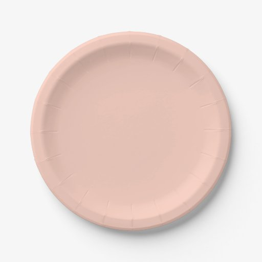 Peach Solid Color Paper Plate Zazzle