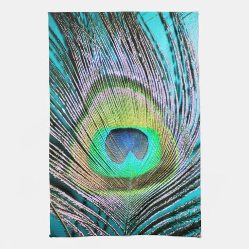 Turquoise Kitchen Towels: Peacock Feathers On Turquoise Kitchen Towels