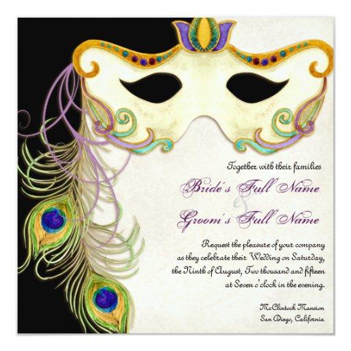 Masquerade Wedding Invitations: Peacock Masquerade Mask Ball - Wedding Invitation