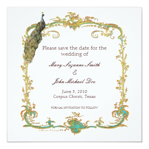Save The Date Wedding Invitation Ornaments Save The Date: Peacock Wedding Save The Date Invitation