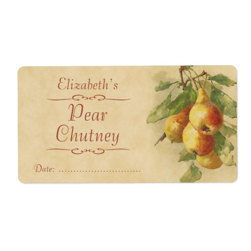 Pear canning label for Chutney label templates