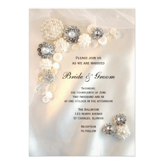 Pearl and Diamond Buttons Wedding Invitation