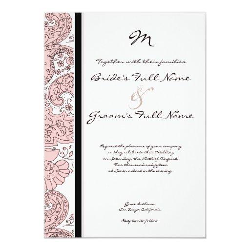 Pen & Ink Paisley Custom Color Wedding Invitation