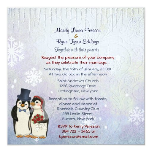 Wedding Invitation Message From Bride And Groom: Penguin Bride And Groom Wedding Invitation Square 5.25