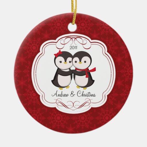 Penguin Couple Love Cute Christmas Ornament   Zazzle