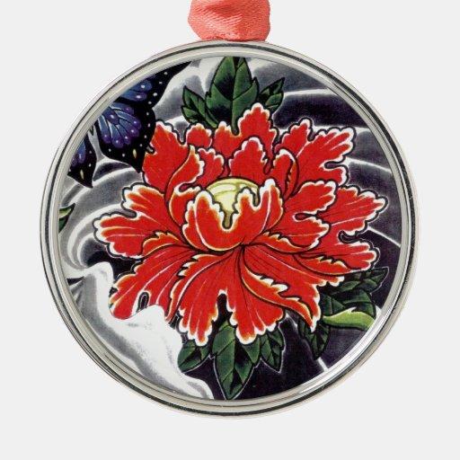 Peony Flower Japanese Tattoo Design Christmas Tree
