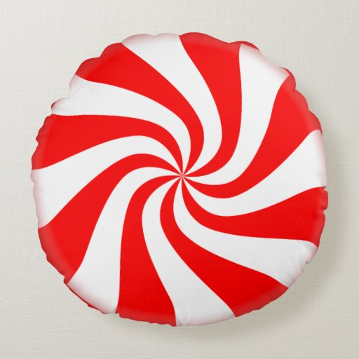 Peppermint Candy Round Holiday Pillow Zazzle