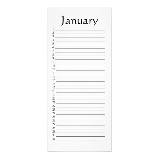 rack card template for word - perpetual calendar january rack card template zazzle