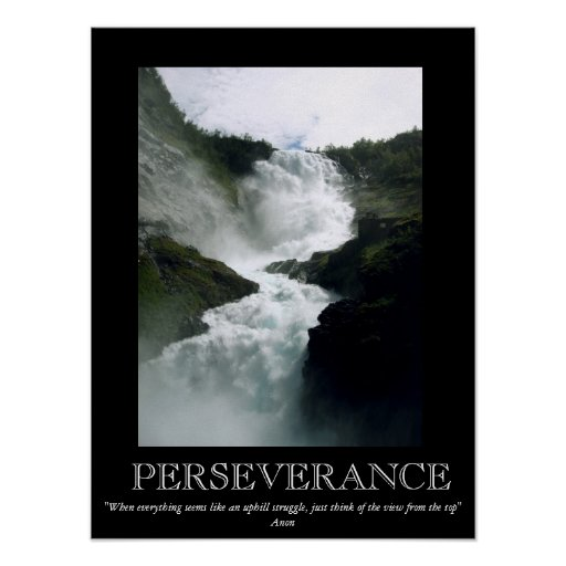 Persistence Motivational Quotes: Perseverance Waterfall Motivational Poster