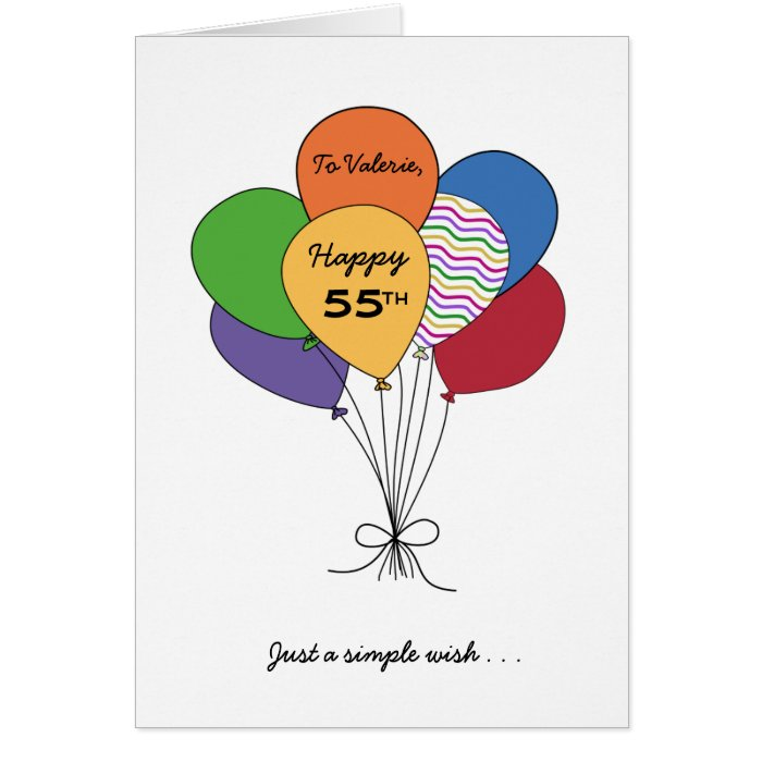 Personalize With NameHappy 55th Birthday Wish Greeting Card