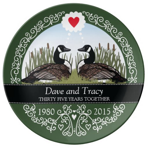 Personalized 35th Wedding Anniversary, Geese Porcelain