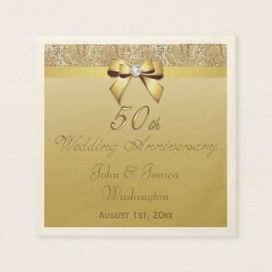 Personalized 50th Gold Wedding Anniversary Napkin Zazzle Com