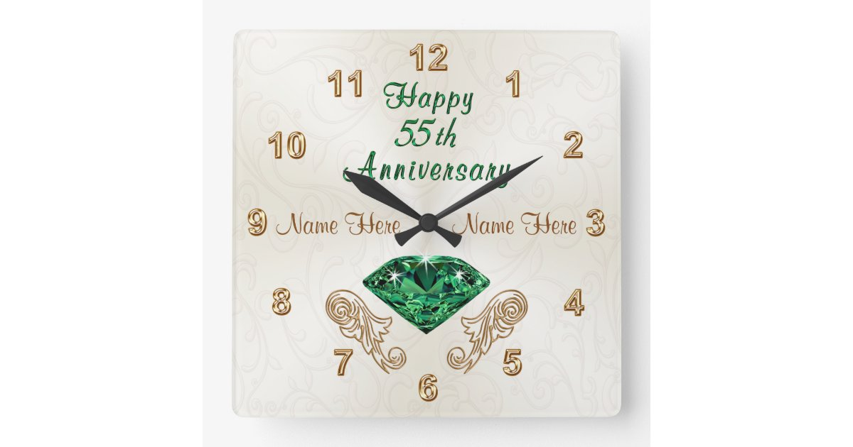 Emerald Wedding Anniversary Gifts: Personalized 55th Anniversary Gifts, Emerald Clock