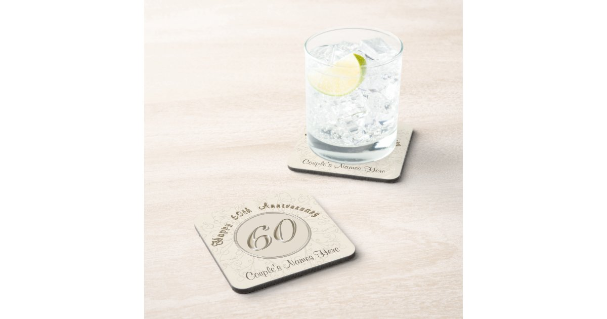 60 Years Wedding Anniversary Gifts: Personalized 60th Wedding Anniversary Gifts Drink Coaster