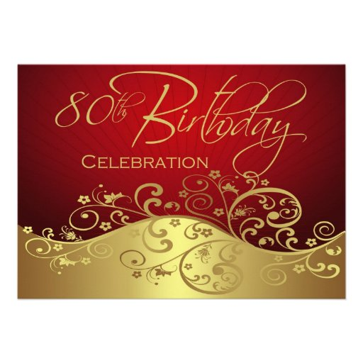 Personalized 80th Birthday Party Invitations