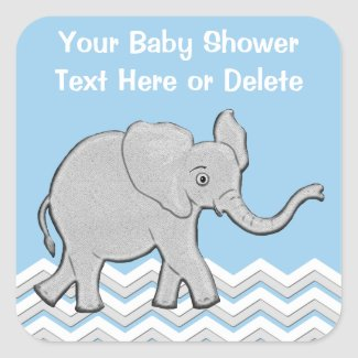 Personalized Baby Elephant Baby Shower Stickers