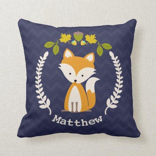 Personalized Baby Fox Wreath Pillow Boy Zazzle