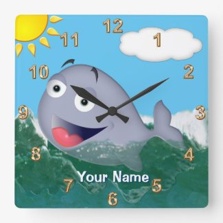 Personalized Baby Whale Nursery Decor Wall Clock