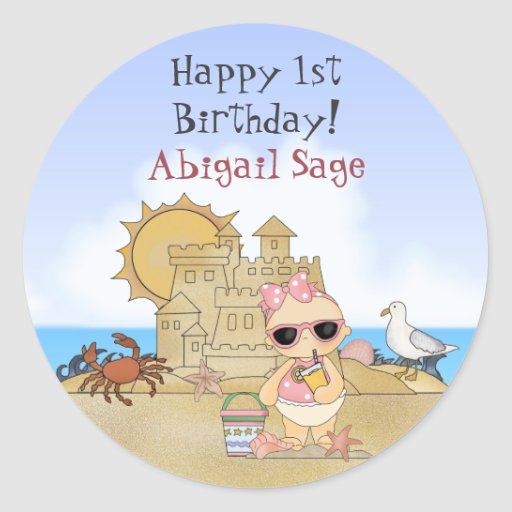 Personalized Beach Baby 1st Birthday Stickers