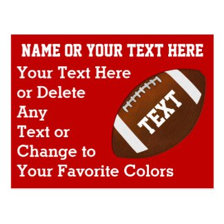 Personalized Cheap Football Invitations, Your TEXT Postcard