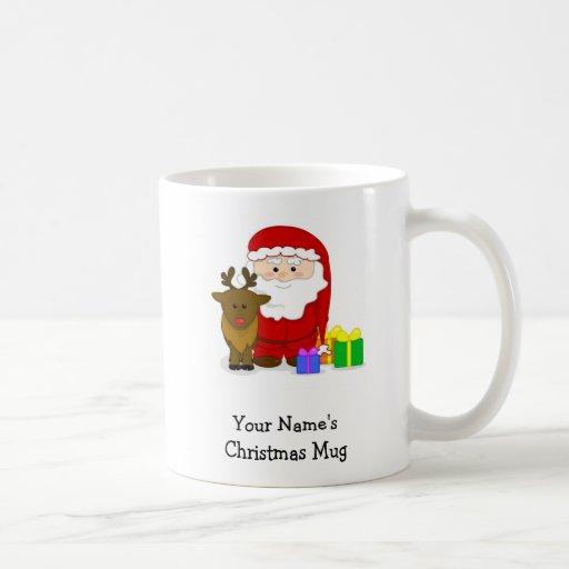 Personalized Christmas Mug - Santa and Reindeer Basic White Mug ...