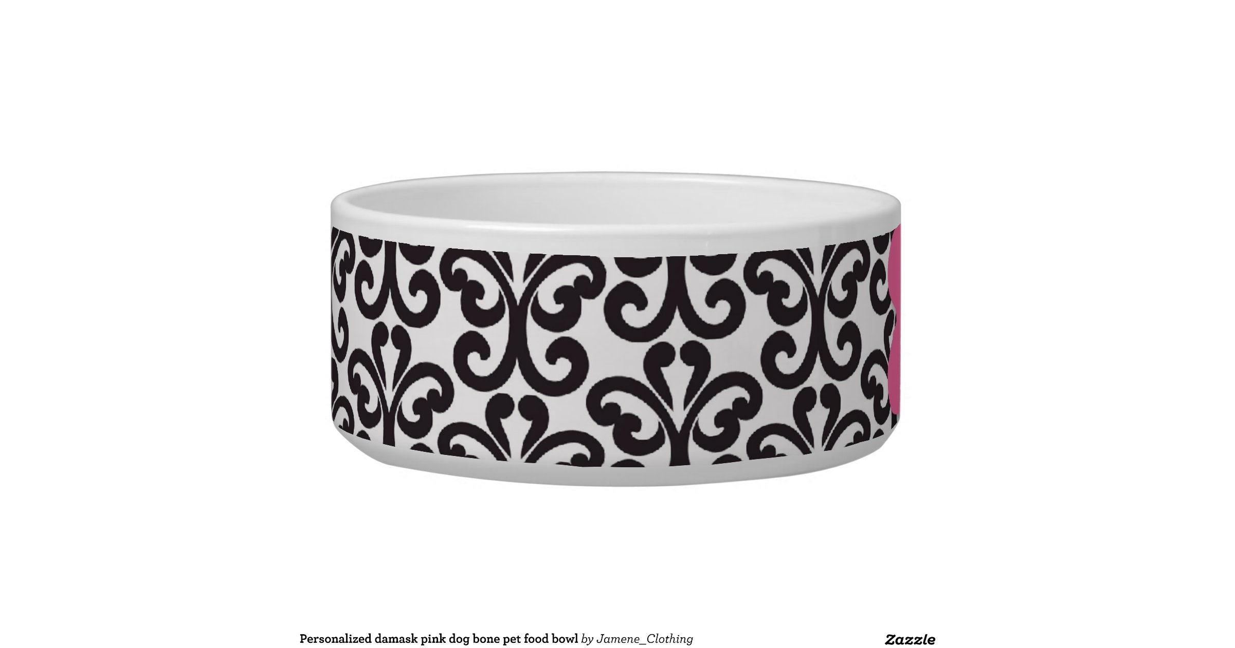 personalized_damask_pink_dog_bone_pet_food_bowl ... - photo#27