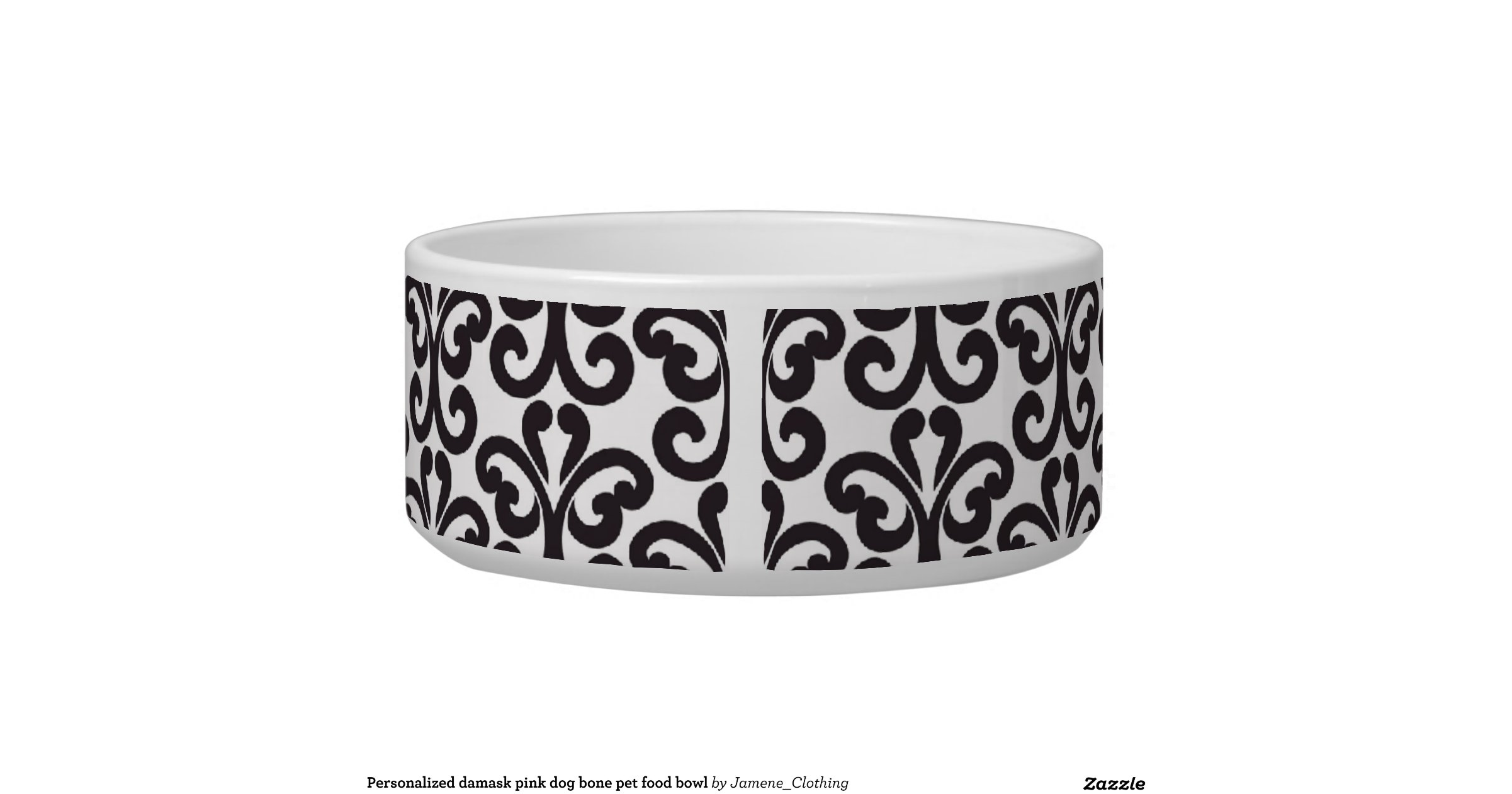 personalized_damask_pink_dog_bone_pet_food_bowl ... - photo#28