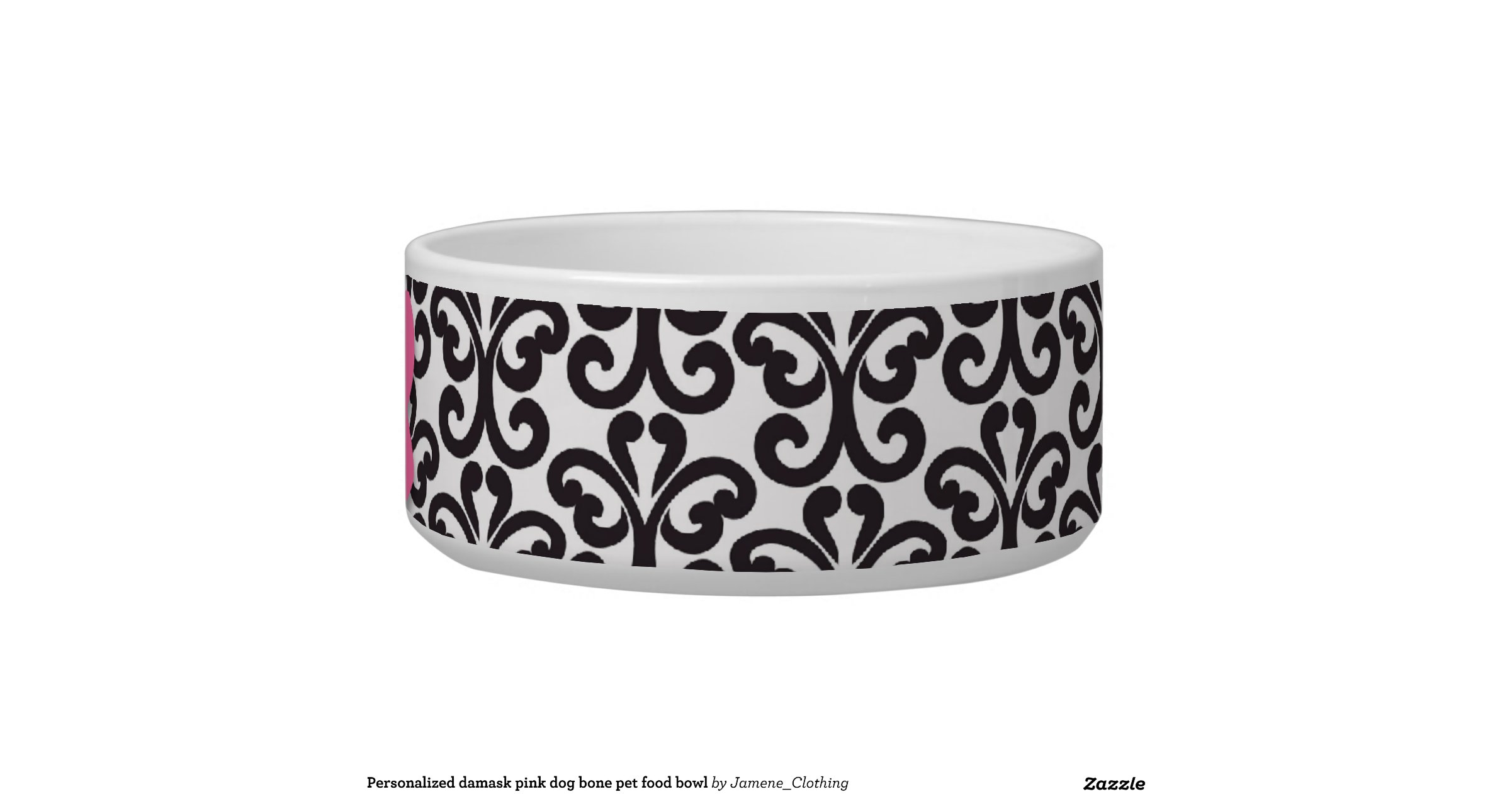 personalized_damask_pink_dog_bone_pet_food_bowl ... - photo#24