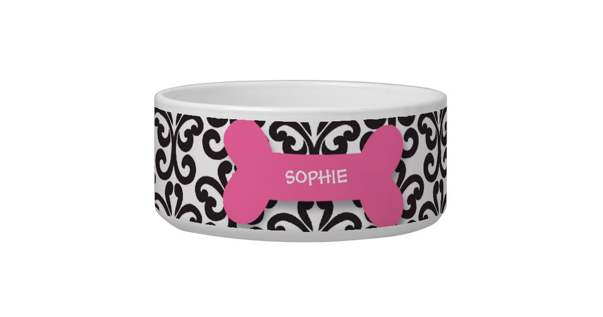 Personalized damask pink dog bone pet food bowl | Zazzle - photo#14
