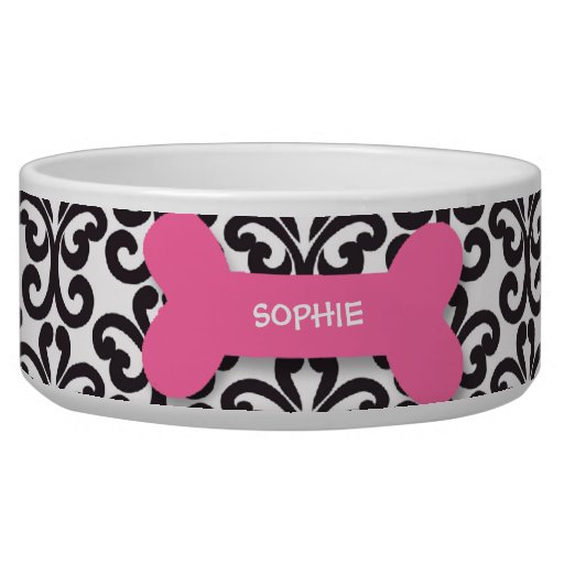 Personalized damask pink dog bone pet food bowl dog food ... - photo#12