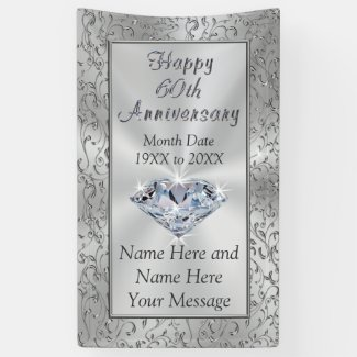 Personalized Diamond 60th Anniversary Banners Banner