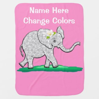 Personalized Elephant Baby Blankets for Girls