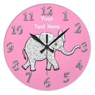 Personalized Elephant Clock Nursery Decor for Girl