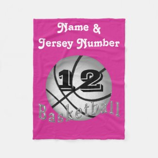 Personalized Fleece Basketball Blanket for Girls Fleece Blanket