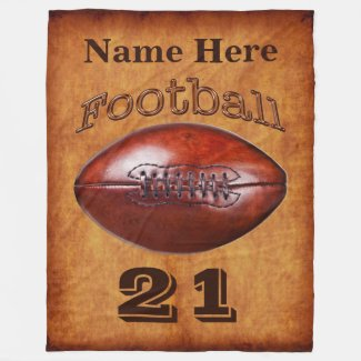 Personalized Football Blanket, Cool Vintage look Fleece Blanket