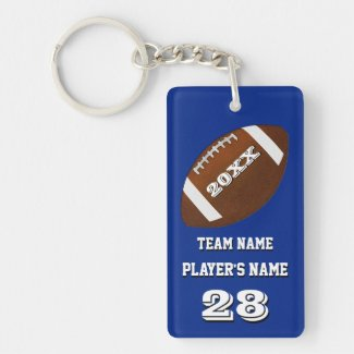Personalized Football Team Gifts with 4 Text Boxes Double-Sided Rectangular Acrylic Keychain