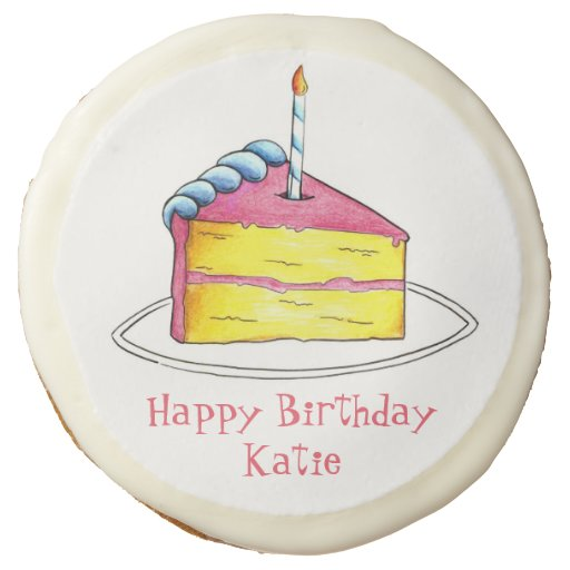 Personalized Happy Birthday Cake W/ Candle Cookies