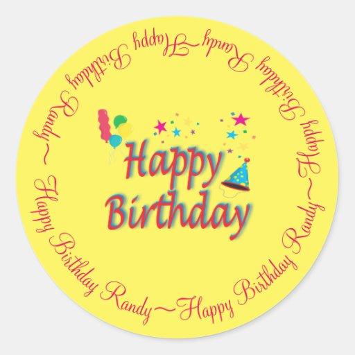 Personalized Happy Birthday Yellow Custom Classic Round