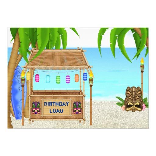 Personalized Luau Birthday Invitation For Boys